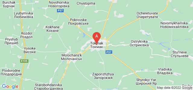 map of Tokmak, Ukraine